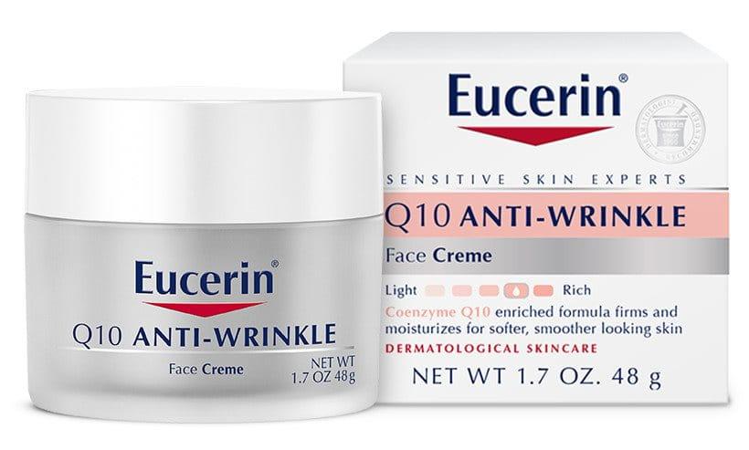 Eucerin Q10 Anti-Wrinkle Sensitive Skin Face Creme 1.7 oz. no! no! Smooth Rejuvenating Serum with Capislow 1 Fl Oz.